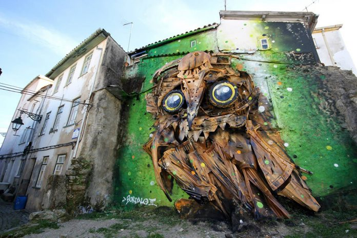 Owl Eyes, Bordalo II, sculpture recyclée hibou