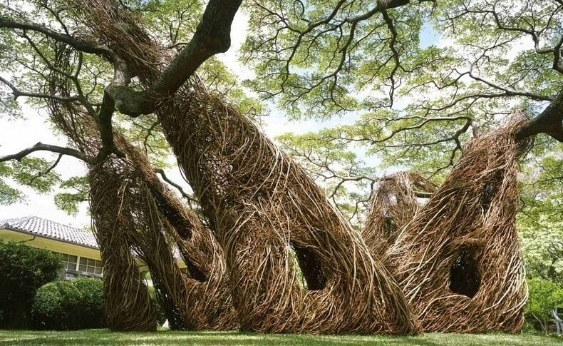L 39 artiste patrick dougherty fa onne la nature pour des for Architecture et nature