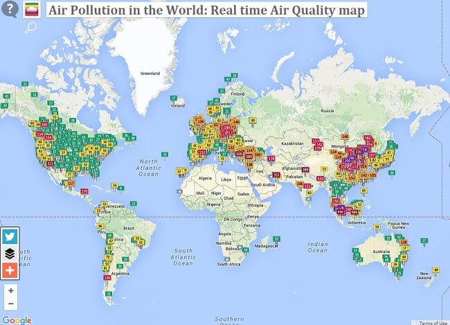 carte interactive, pollution de l'air dans le monde