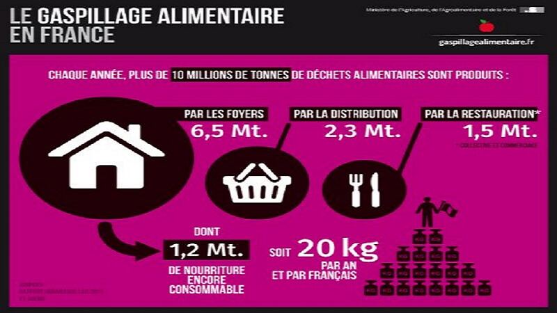 Gaspillage alimentaire, Infographie, France