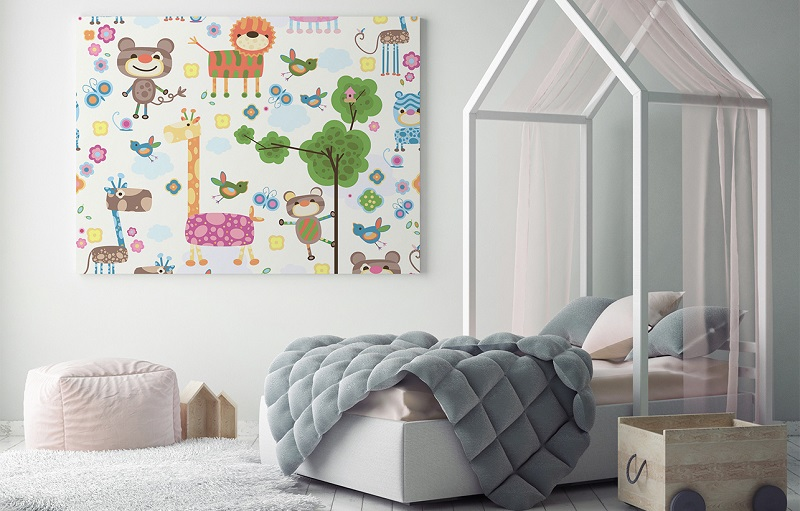 un accent mural fabuleux avec les tableaux pour la chambre d enfant. Black Bedroom Furniture Sets. Home Design Ideas